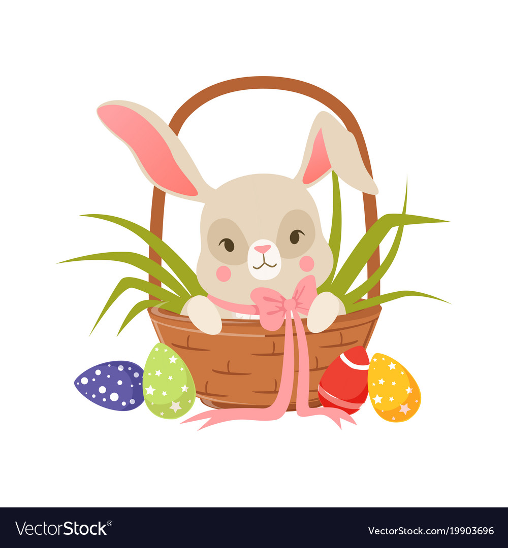 Cute cartoon bunny in pink bow sitting in easter