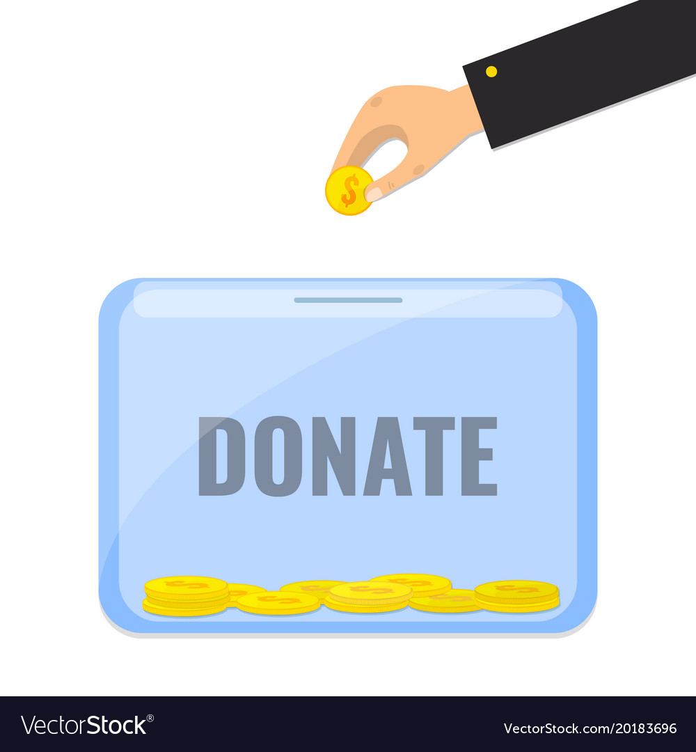 donate money with box for donations royalty free vector