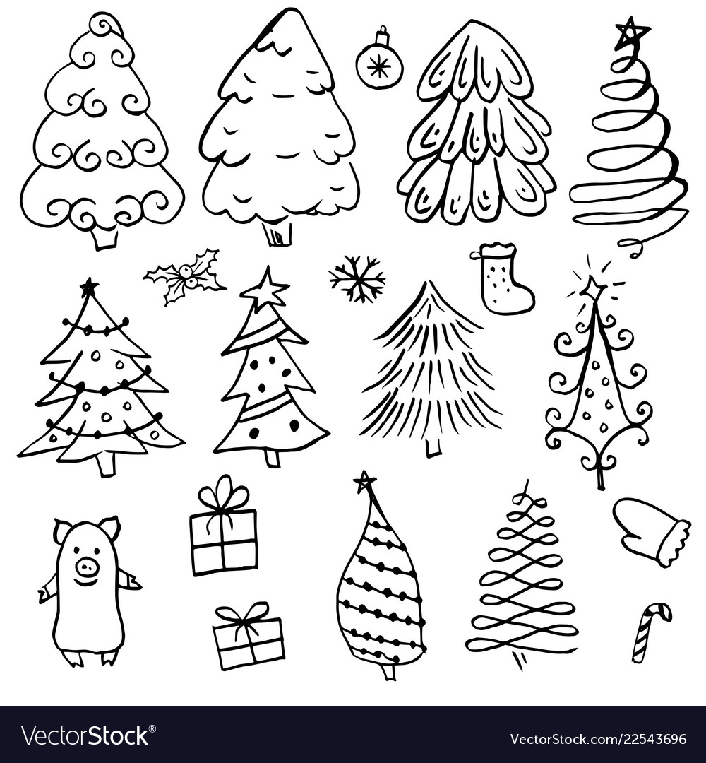Doodle different christmas tree with black