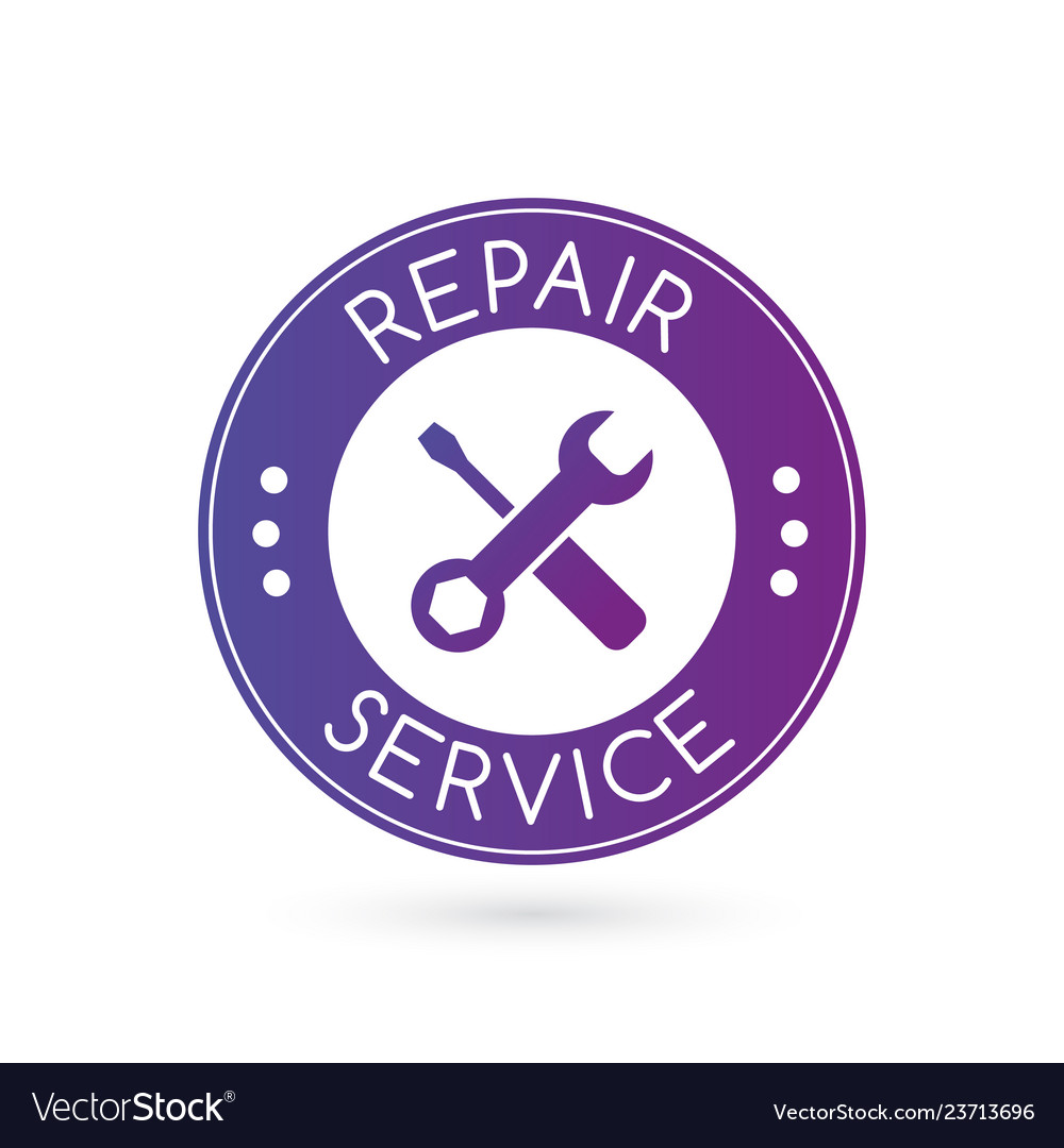 Emergency repair service logo or badge with