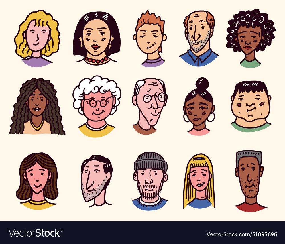 Faces people character set human avatars