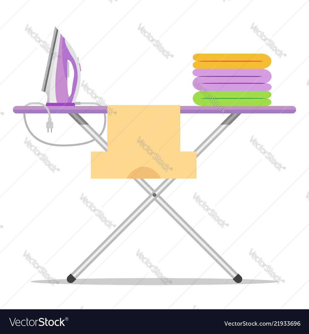 Flat icon ironing board isolated on white