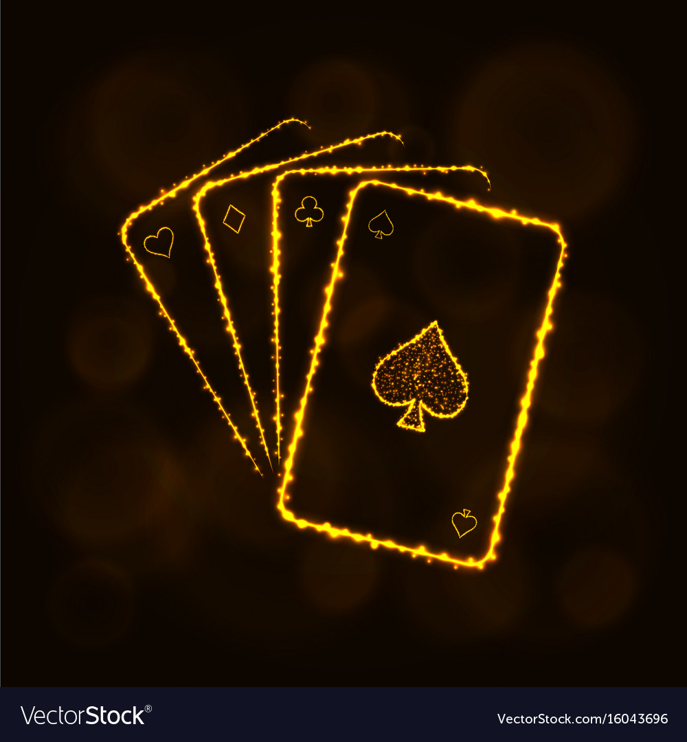 Game cards silhouette of lights casino symbol