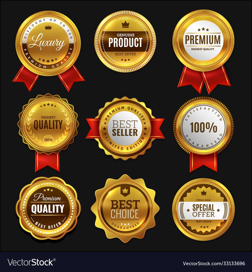 Gold sale badges premium golden emblem luxury