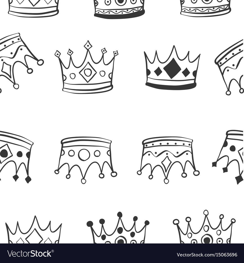 Hand draw crown pattern style