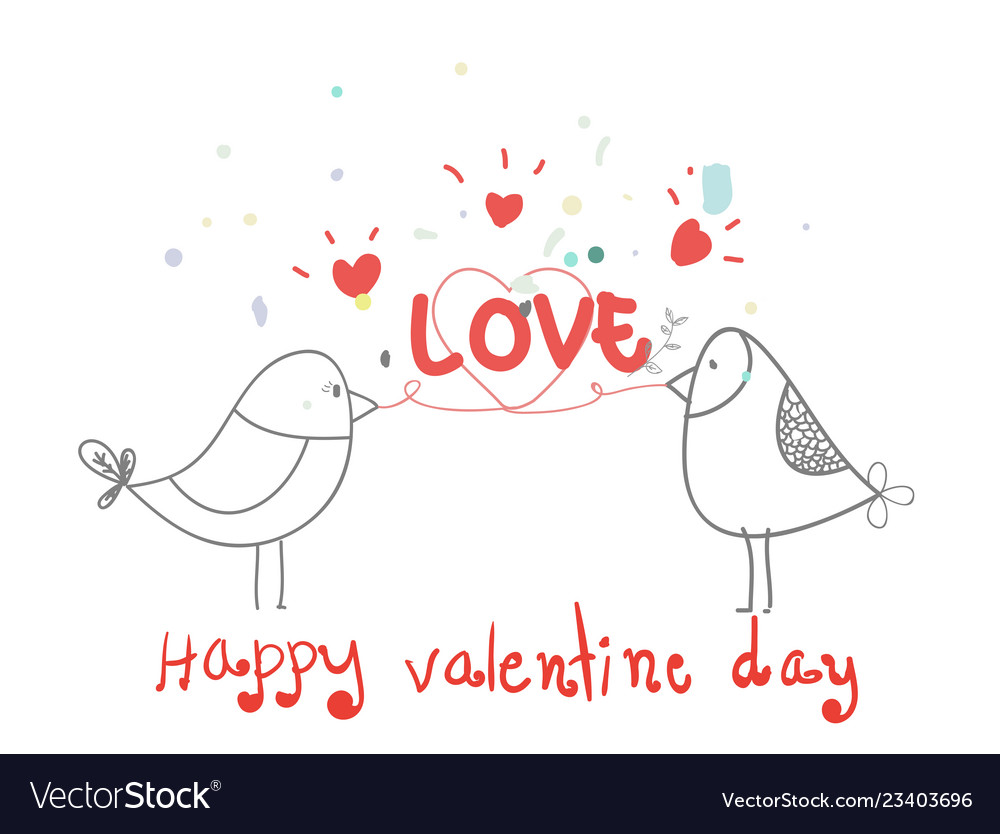 Happy valentine daylovely bird with heart