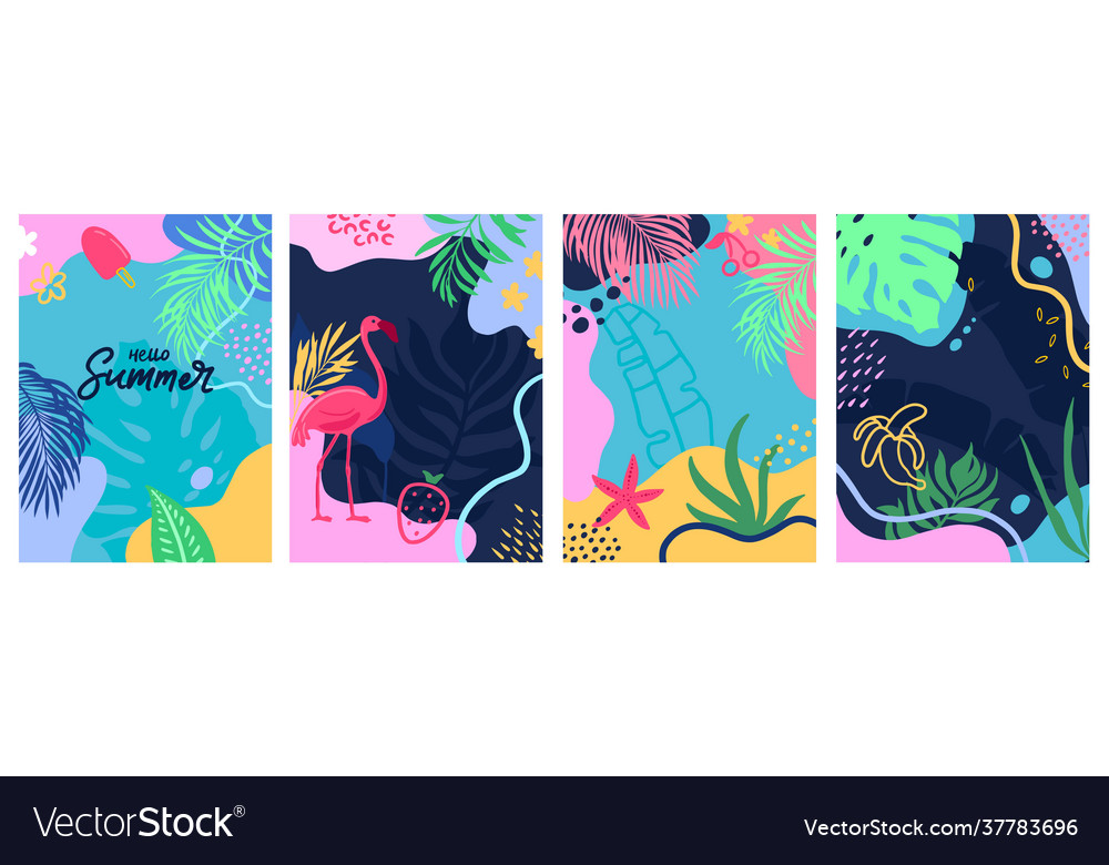 Hello summer set abstract background designs
