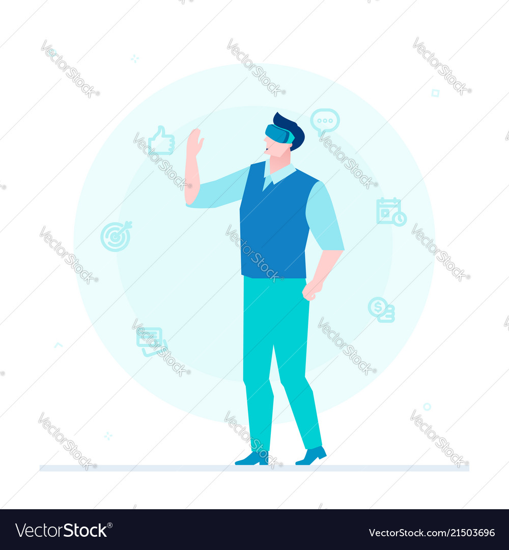 Man in vr glasses - flat design style colorful
