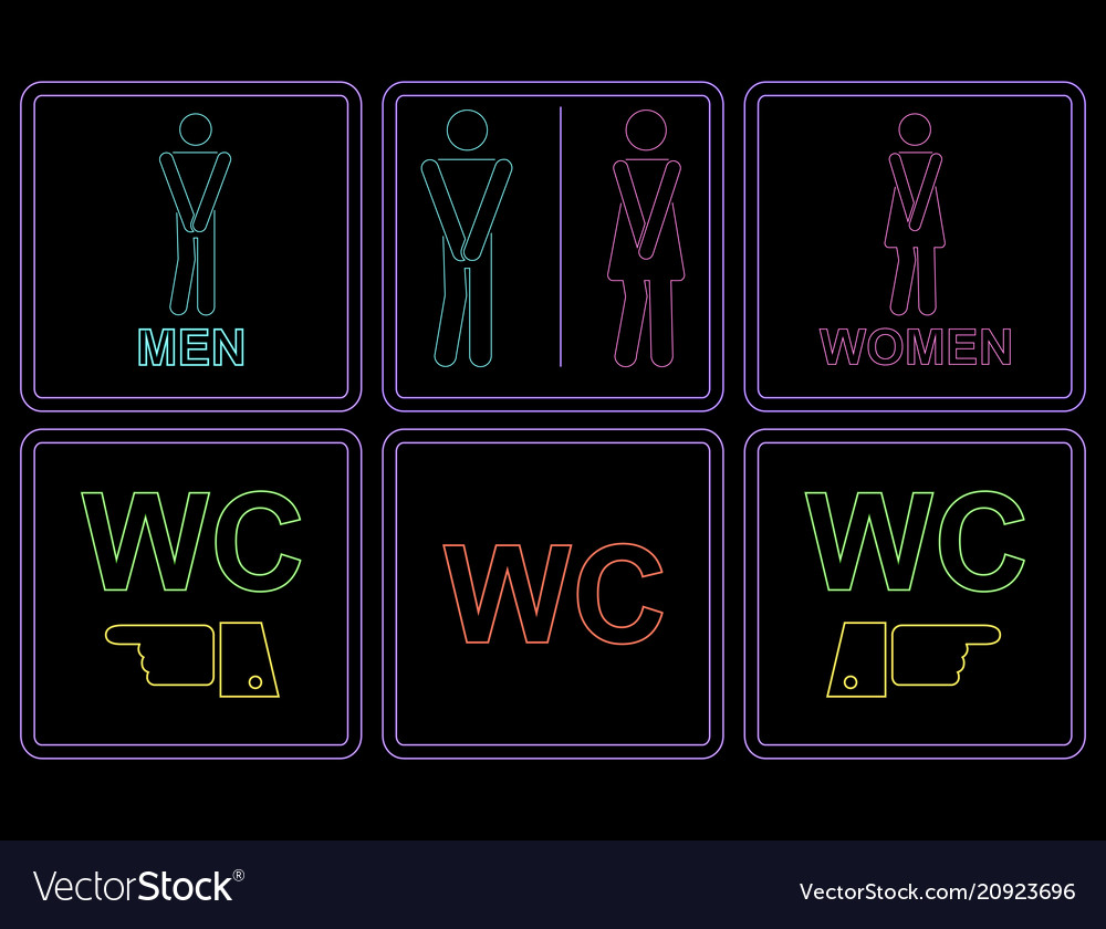 Neon outline male and female wc icon