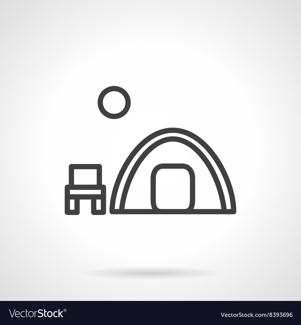 Overnight camp tent black line icon vector image