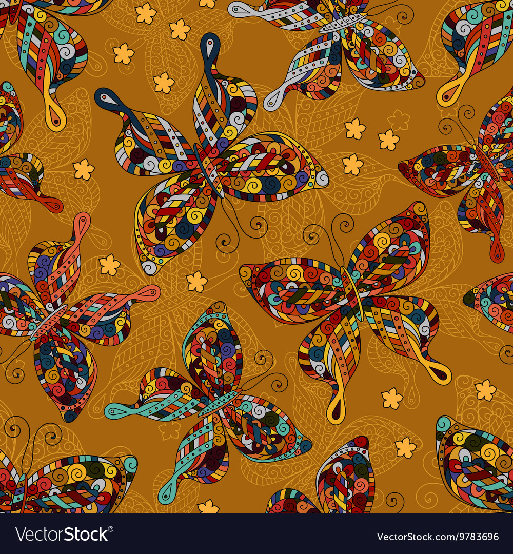 Seamless patterns with butterflies Various and