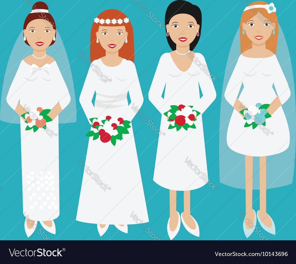 Smiling happy brides in wedding dresses Royalty Free Vector