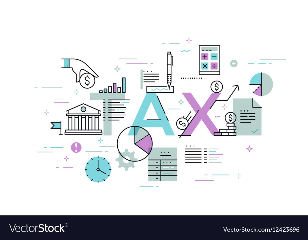 Thin line flat design banner for TAX web page
