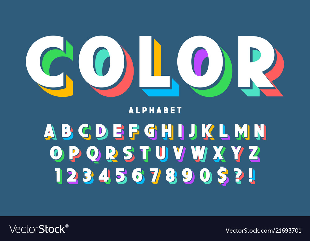 3d display font design alphabet letters and