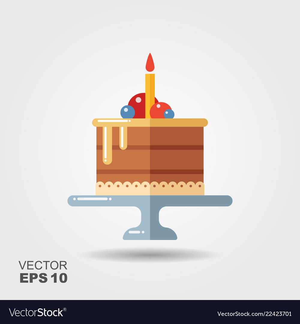 Birthday cake on the stand flat icon with shadow