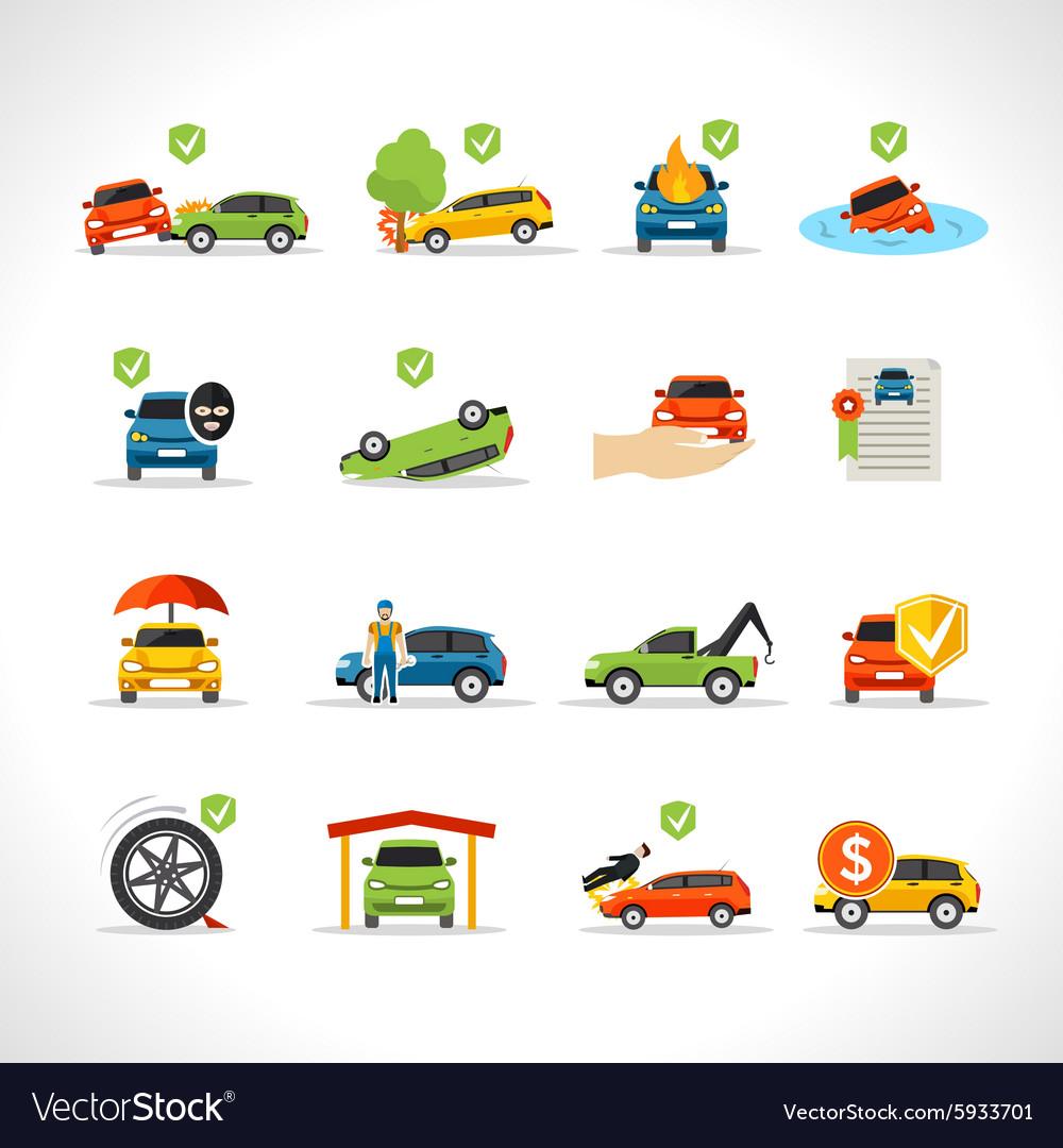 Car Insurance Icons Set Royalty Free Vector Image