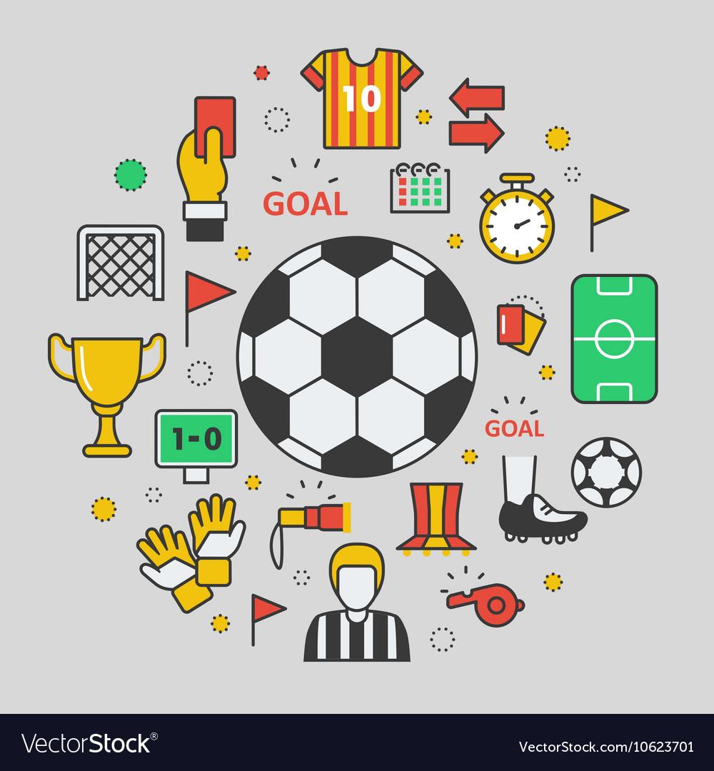 Football Soccer Line Art Thin Icons