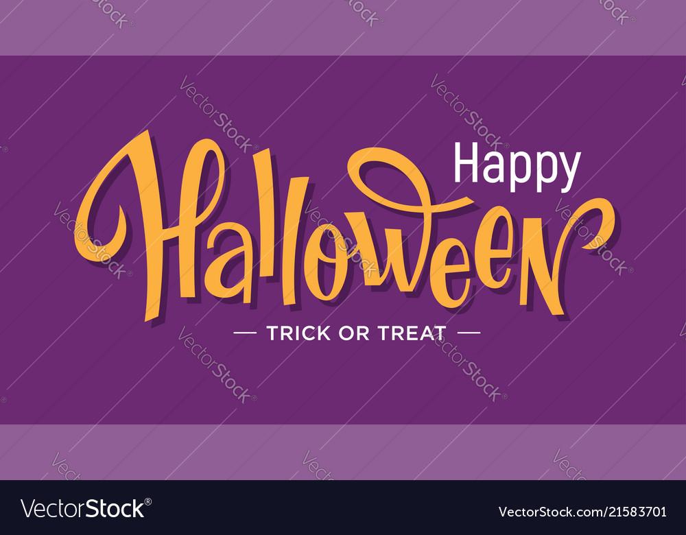 Happy halloween lettering on purple background