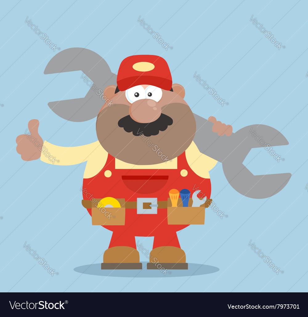 Happy Mechanic Cartoon Giving Thumbs Up