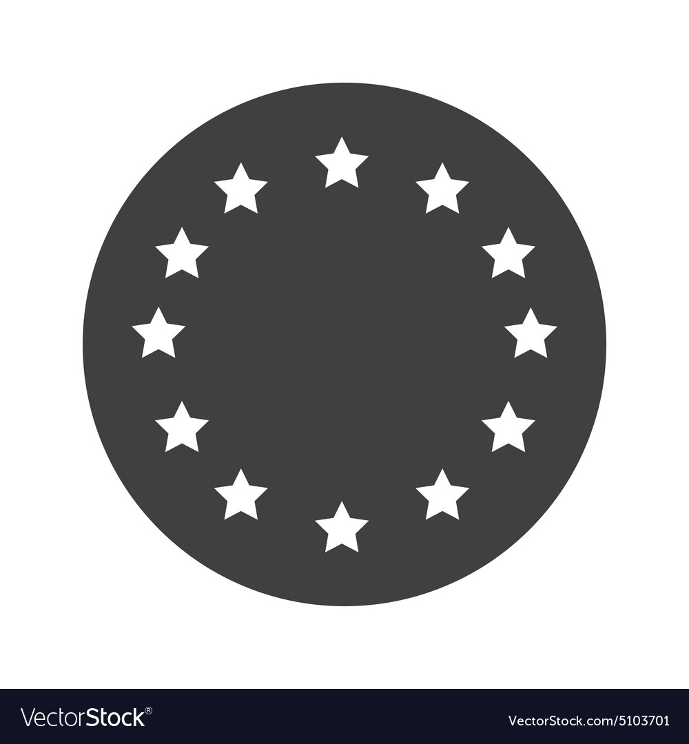 Monochrome Round European Union Icon Vector Image