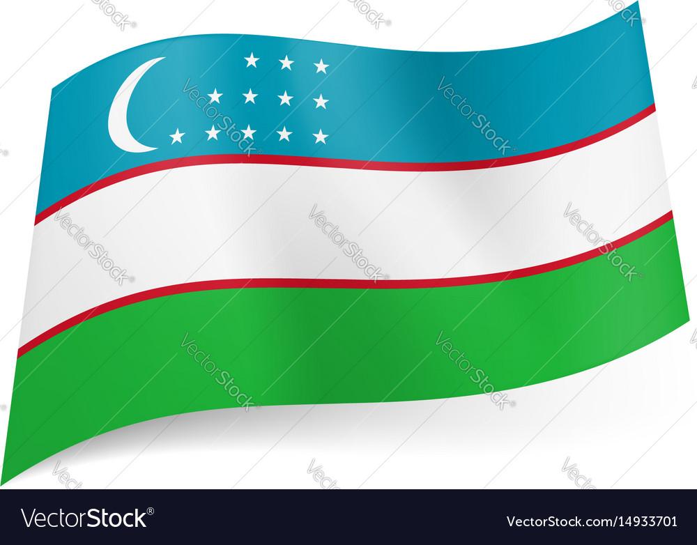National flag of uzbekistan blue white and green vector image