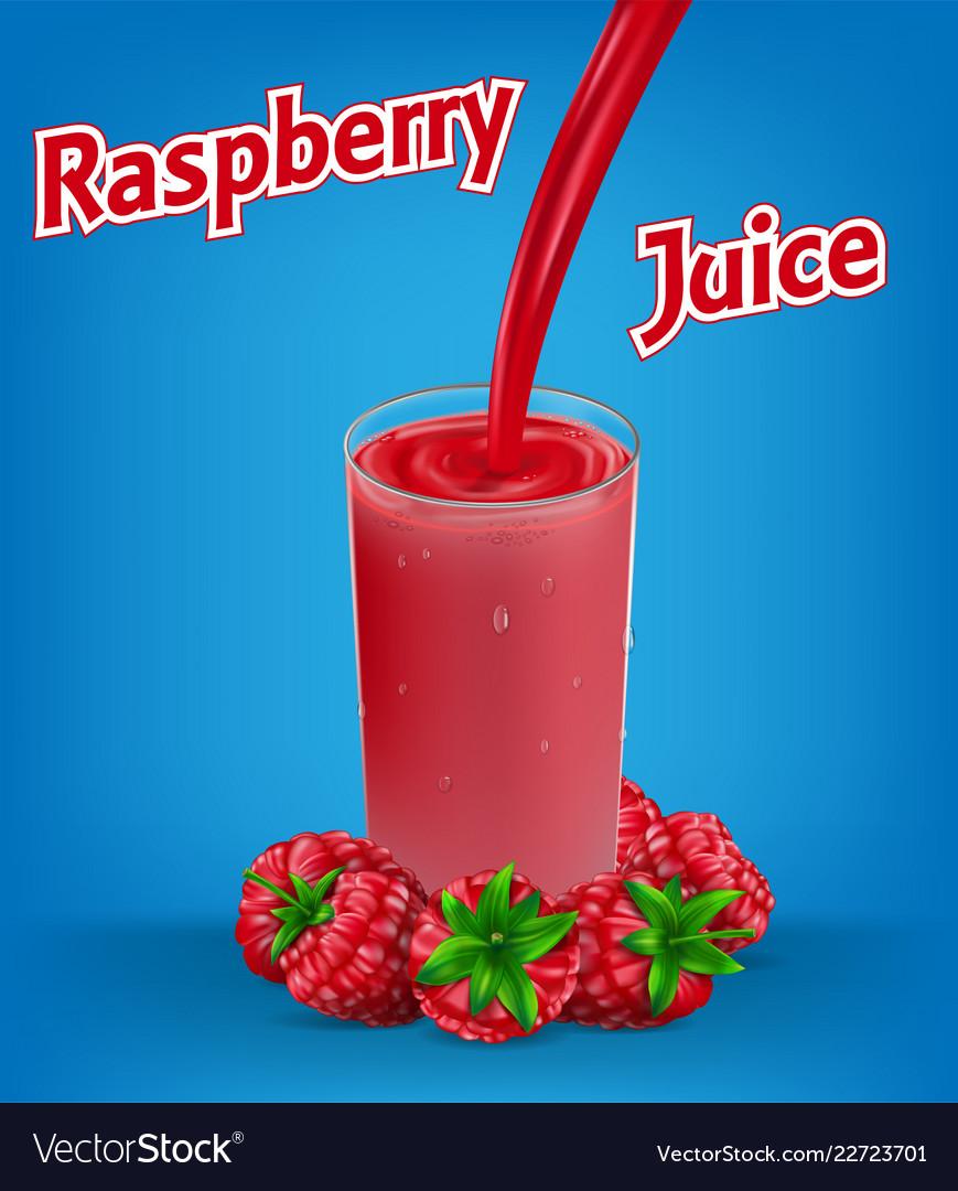 Raspberry juice ad with splash isolated on blue