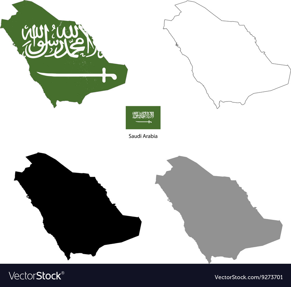 Saudi arabia country black silhouette vector