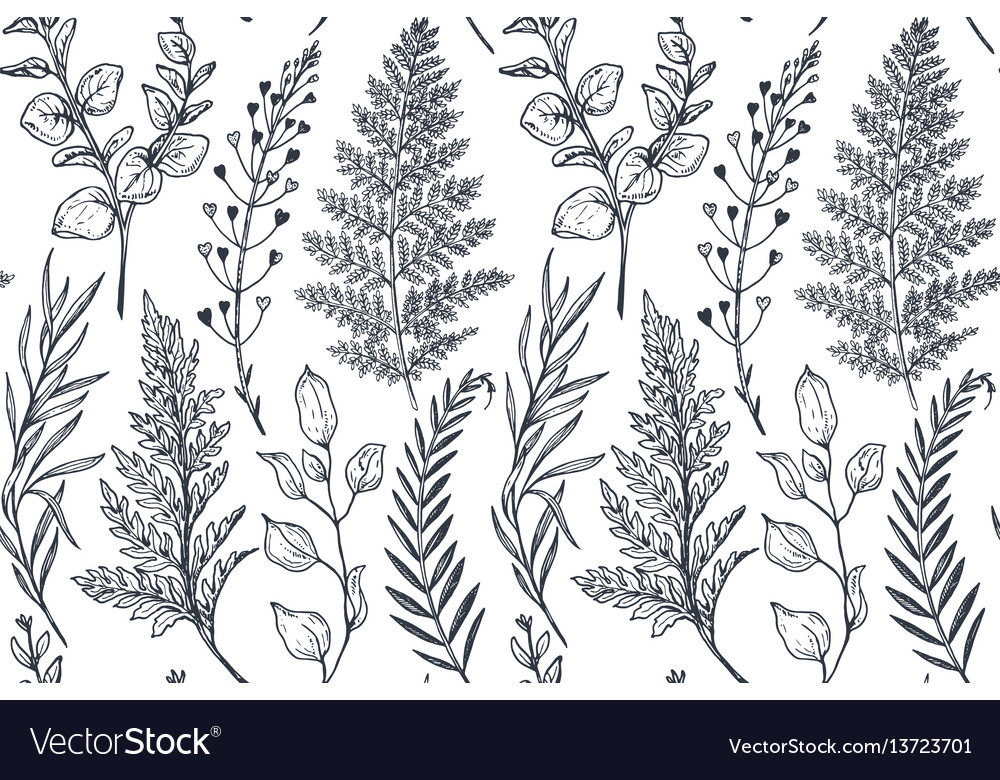Seamless pattern with hand drawn flowers and