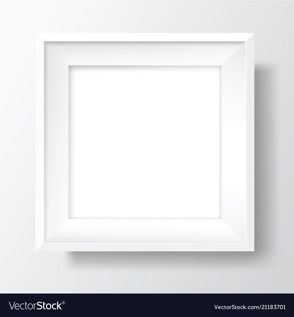 Square blank white frame on white wall Royalty Free Vector