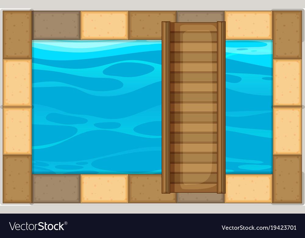 Swimming pool with wooden bridge