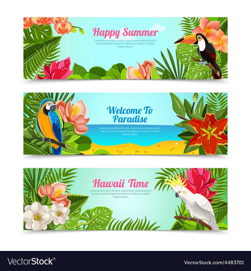 Tropical island flowers horizontal banners set vector image izmirmasajfo