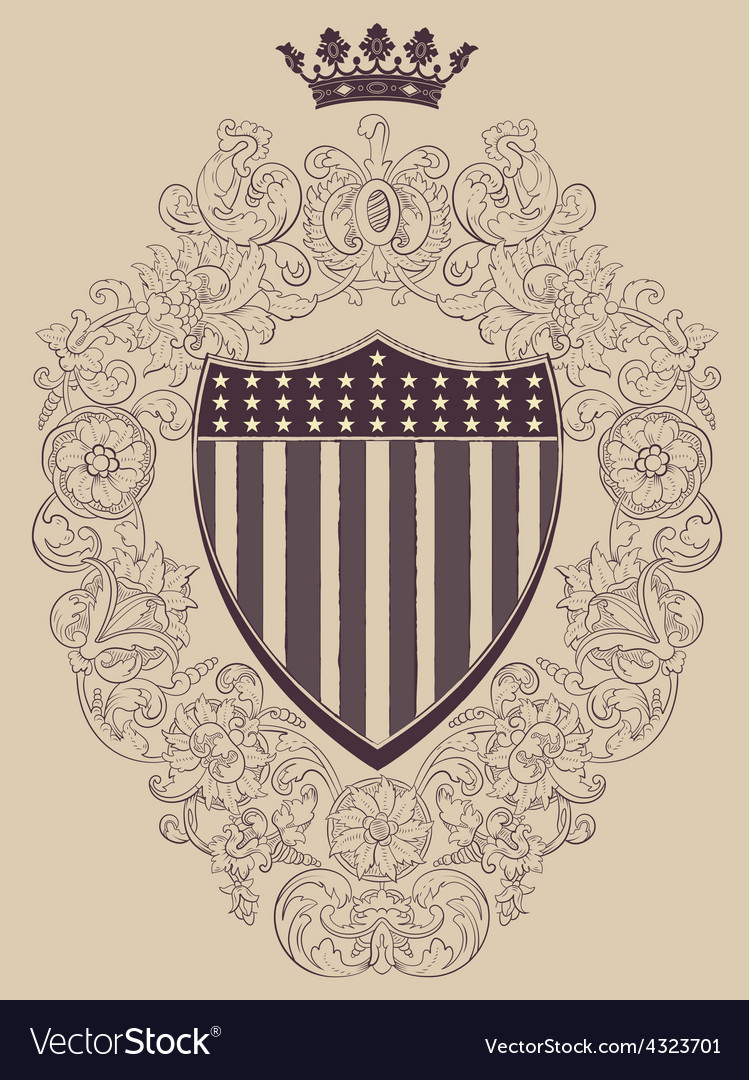 Vintage frame with American shield vector image