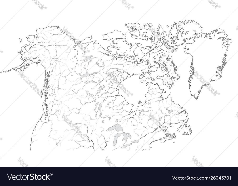 World map canada and north america region