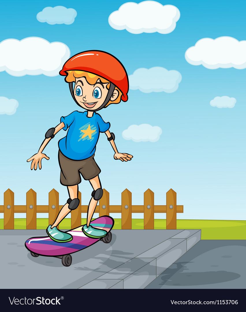 A boy playing skatboard