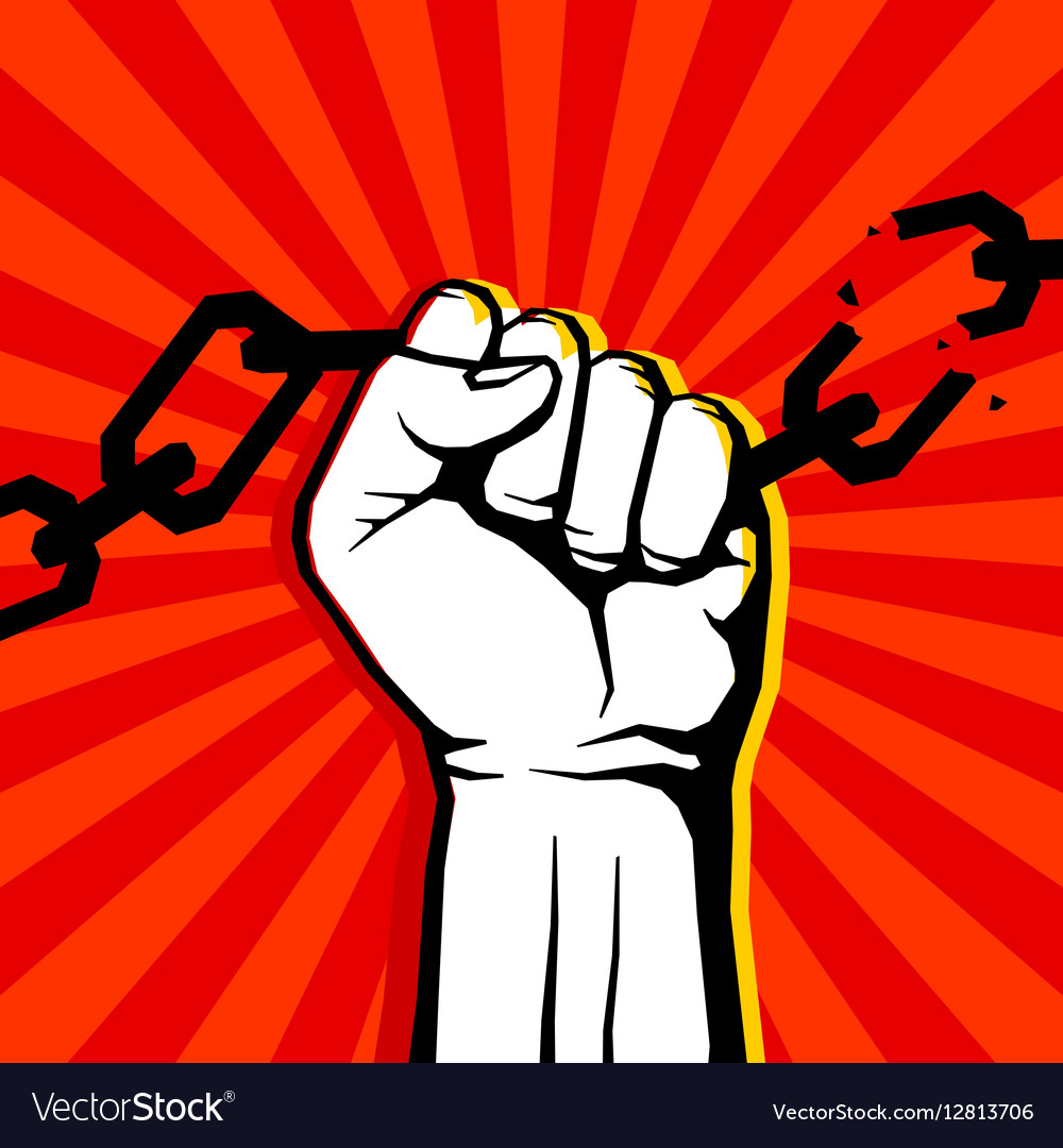 Breaking chain protest rebel poster