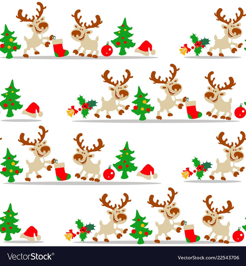 Christmas deer seamless pattern