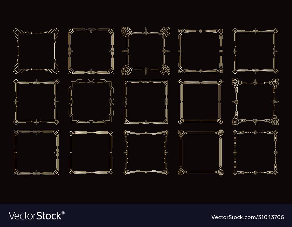 Golden frames victorian geometric borders set