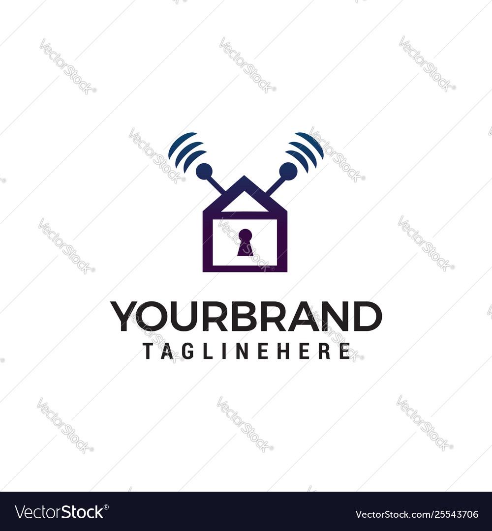Home security logo design concept template