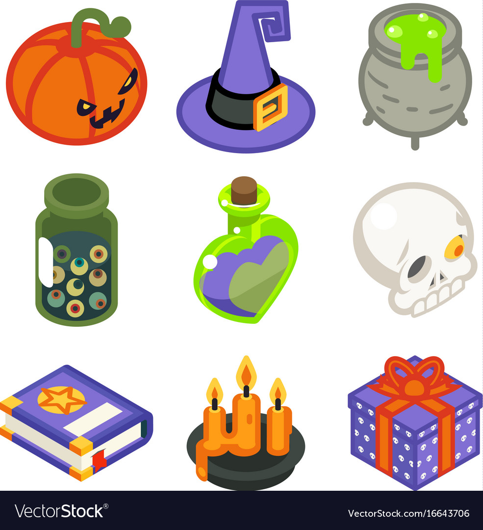 Isometric 3d halloween witch magic icons set