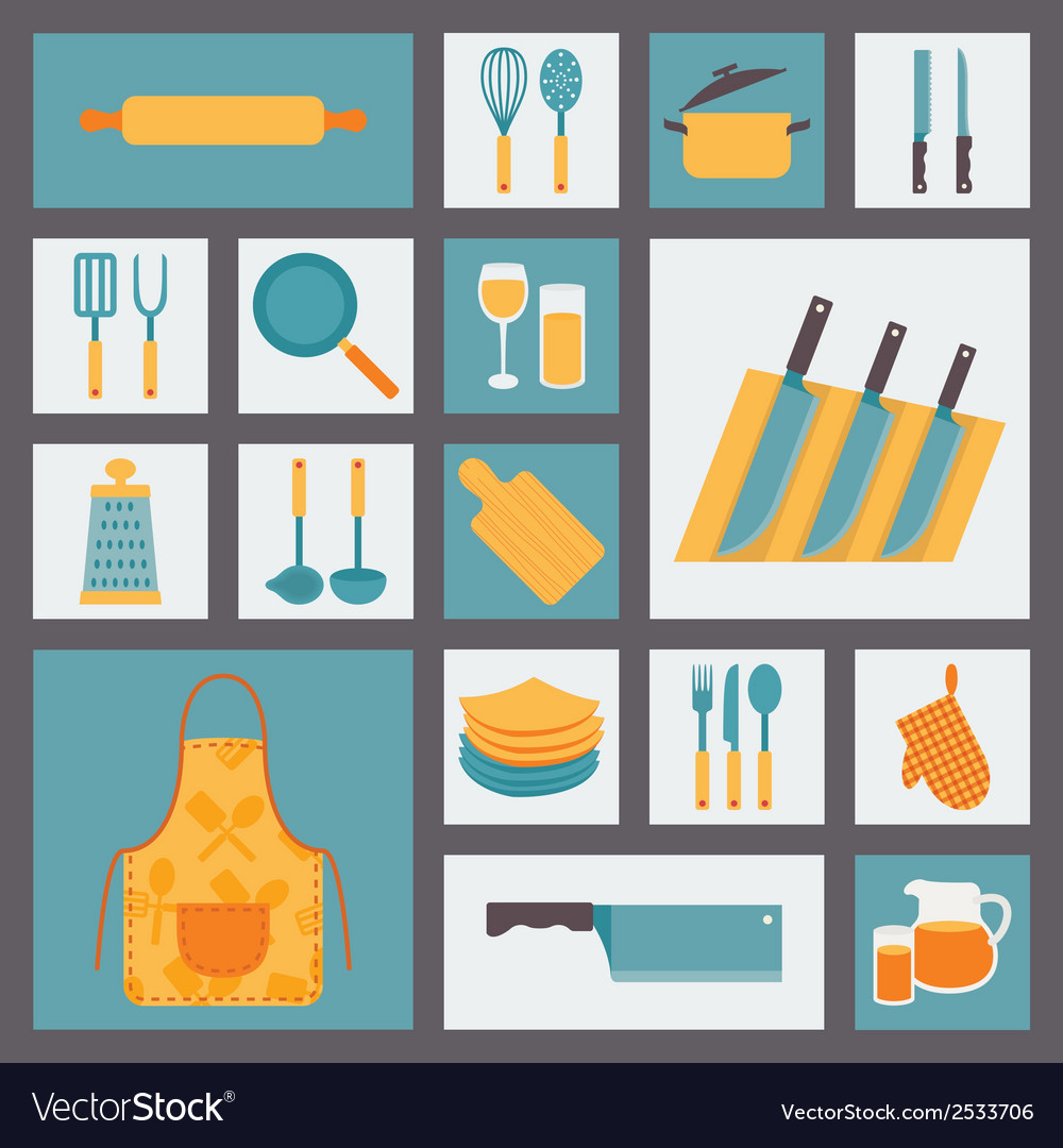 Kitchen and cooking icons set kitchenware and