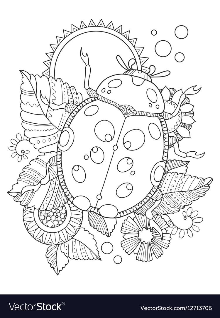 Ladybug coloring book Royalty Free Vector Image