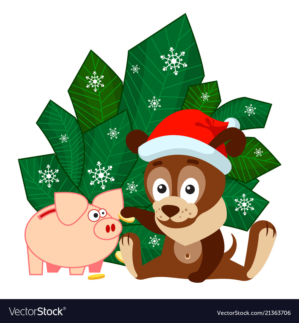 New year or christmas greeting card with dog