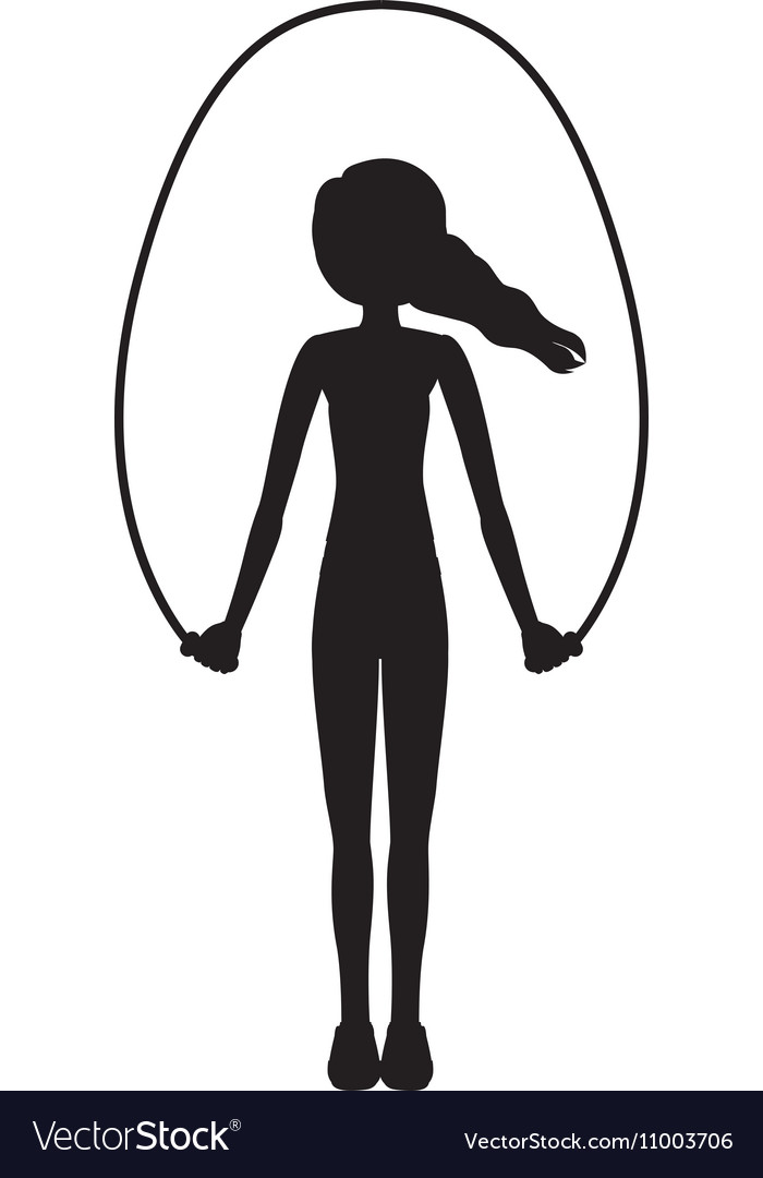 Silhouette woman jump rope up vector image
