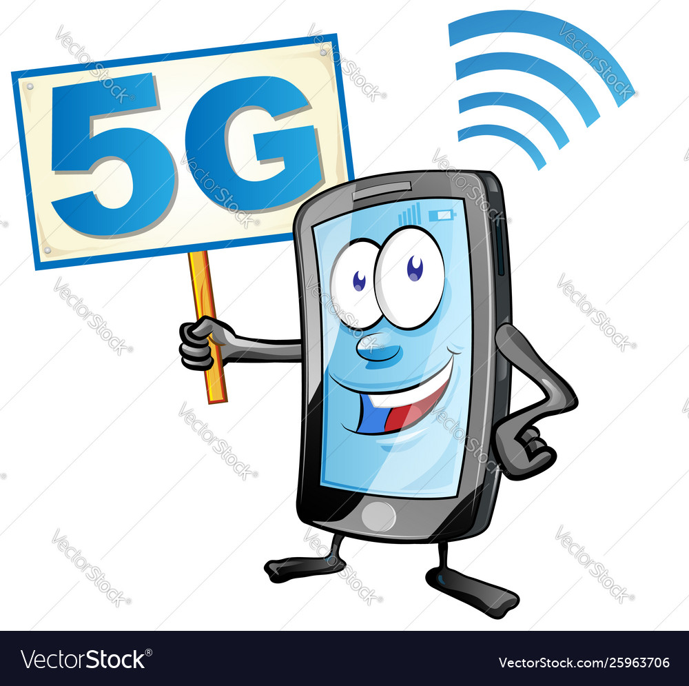 Smartphone cartoon with signboard 5g icon clipart