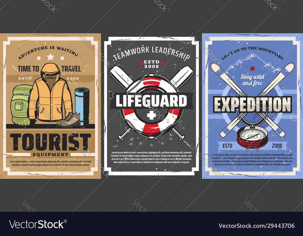 Tourist backpack mountain skis lifebuoy travel