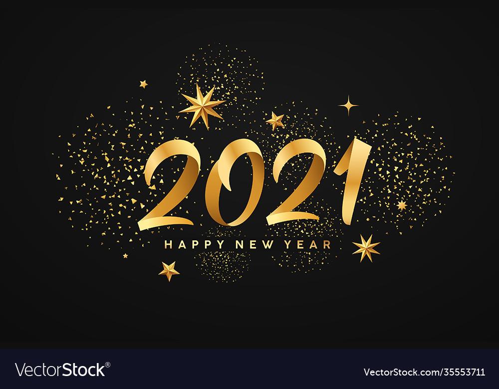2021 happy new year gold ribbon gold stars