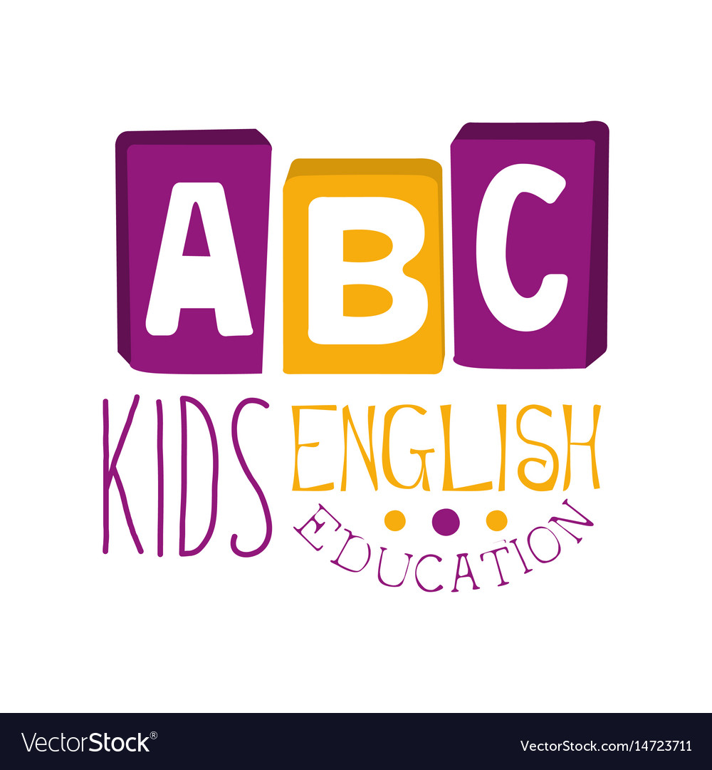 Abc english education for kids logo symbol