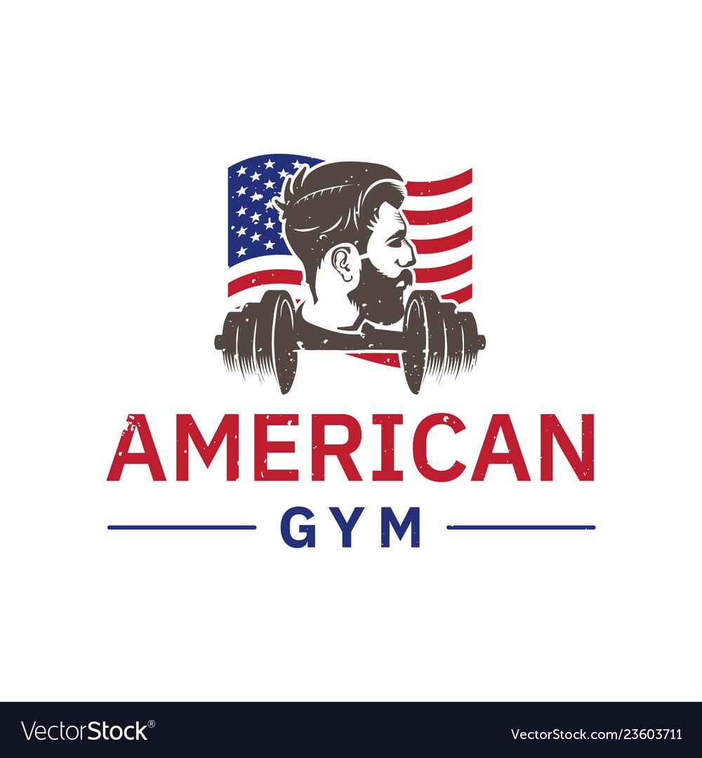 American gym logo inspiration men fitness design