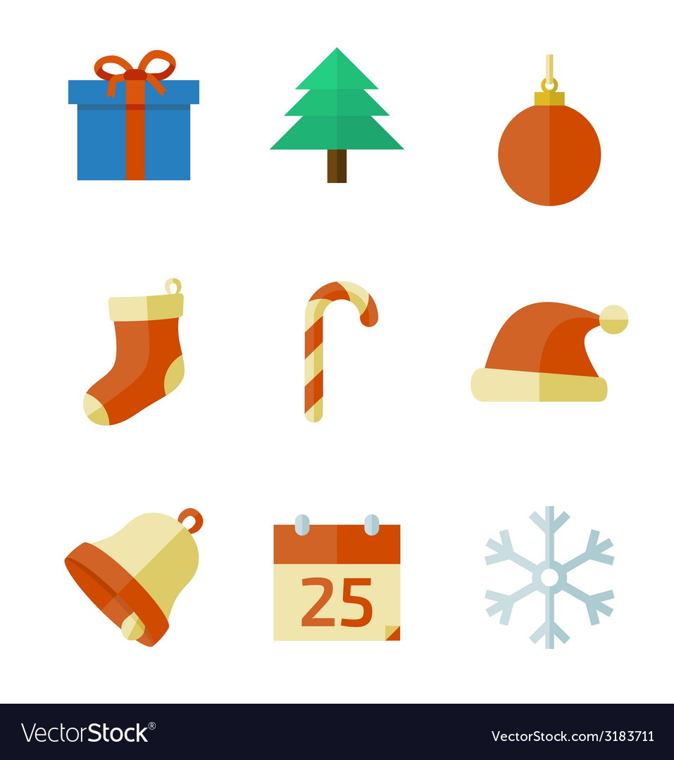 Christmas icons in flat style vector