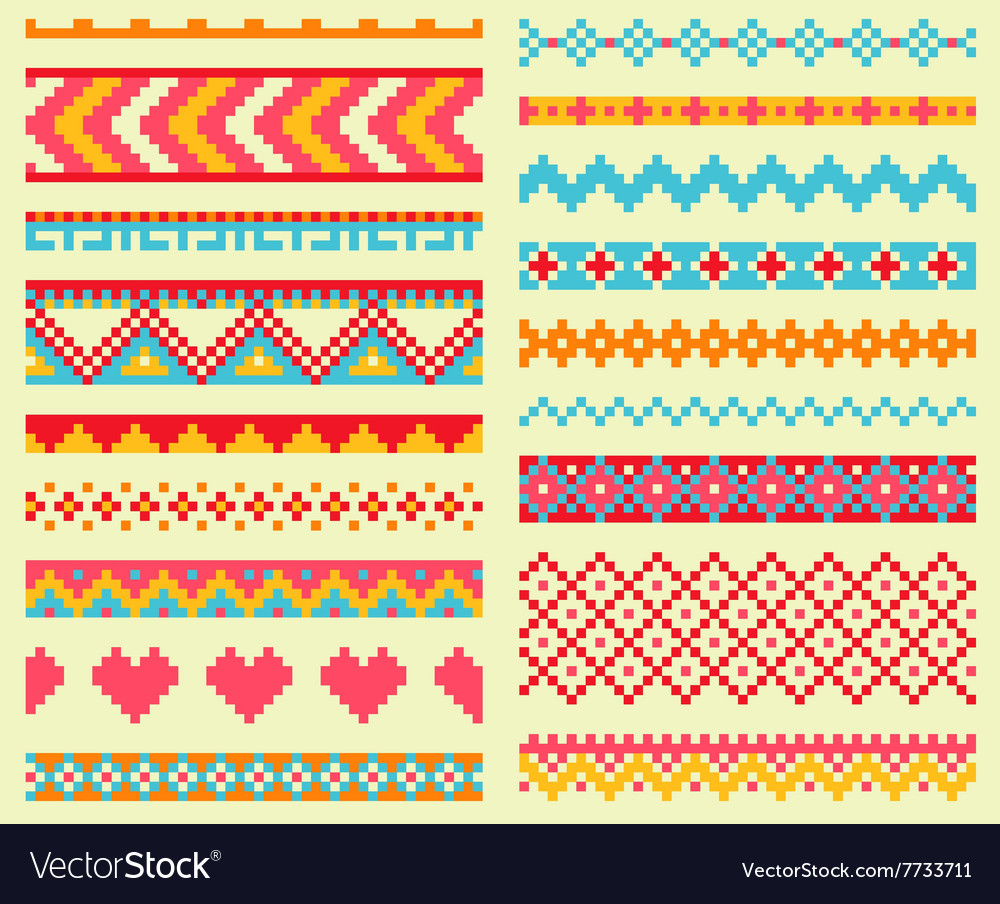 Collection of bright pixel brushes in tribal style